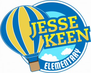 Jesse Keen Elementary Logo - blue and yellow hot air balloon on circle